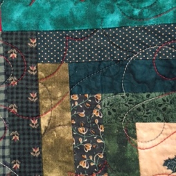 Log Cabin Christmas quilting 3