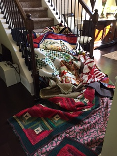 Quilts on stairs